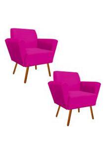 Kit 02 Poltronas Decorativa Dora Suede Pink - D'Rossi