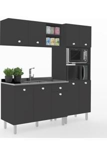 Cozinha Compacta Piazza 9 Portas 1 Gaveta 600024 Preto - Vedere