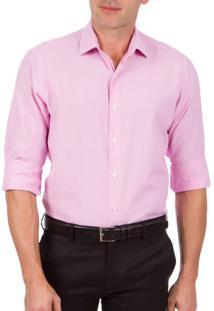 Camisa Social Masculina Rosa Texturizada