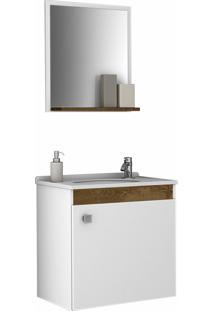 Conjunto P/ Banheiro Siena Branco/Madeira Móveis Bechara