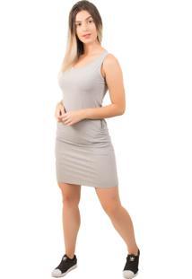 Vestido Bella Fiore Modas Curto Liso Com Bolso Cinza