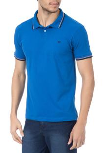 Camisa Polo Colombo Azul Com Detalhe