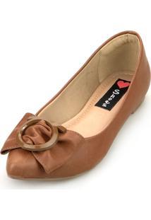 Sapatilha Love Shoes Bico Fino Laço Fivela Caramelo