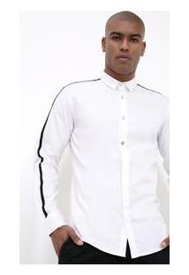 Camisa Com Faixa Lateral Em Tricoline