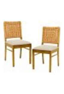 Kit 02 Cadeiras Para Sala De Jantar E Cozinha Sit Oregon Linho Rústico Bege Claro - Gran Belo