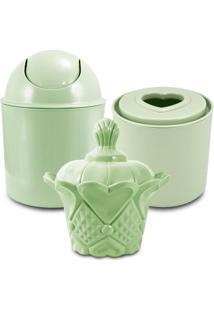 Conjunto De Cestos Organizadores Para Banheiro Jacki Design Lifestyle Verde - Kanui