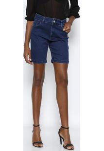 516523526 ... Bermuda Jeans Com Bolsos- Azul Escurovide Bula