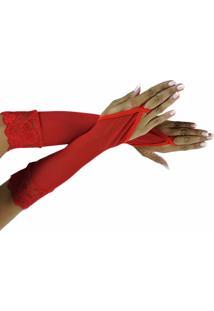 Luva Feminina Estilo Sedutor Em Tule E Renda Vermelha