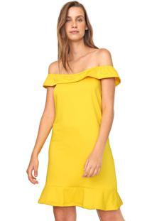 Vestido Fiveblu Curto Liso Amarelo