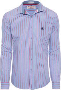 Camisa Masculina Listrada Carbon Brush - Azul
