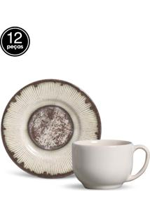 Conjunto 12Pçs Xícaras De Chá Porto Brasil Mônaco Rustic Marrom/Branco