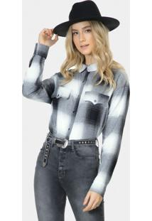 Camisa Manga Longa Xadrez Tecido Preto Reativo - Lez A Lez
