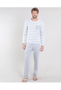 Pijama Masculino Listrado Com Bolso Manga Longa Cinza Mescla Claro