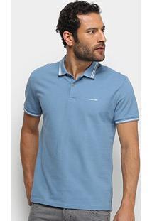 Camisa Polo Calvin Klein Frisos Masculina - Masculino-Azul Claro