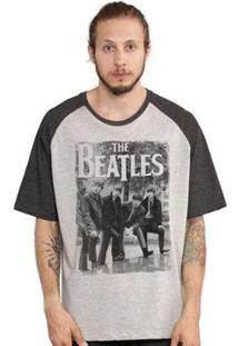 Camiseta Bandup! Raglan The Beatles Hey What´S That - Masculino-Cinza+Preto