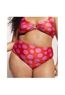 Biquíni Calcinha Plus Size Feline Hot Pant Estampado Dots Com Proteção Uv50+ Vermelho