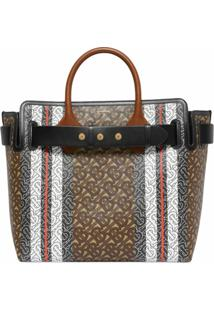 Burberry The Medium Monogram Stripe E-Canvas Tote Bag - Marrom