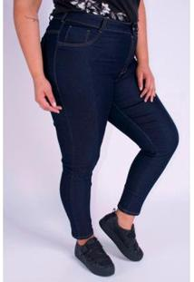 Calça Skinny Detalhes Recortes Plus Size Feminina - Feminino