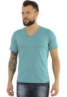 Camiseta Versatti Fram Gola V Azul