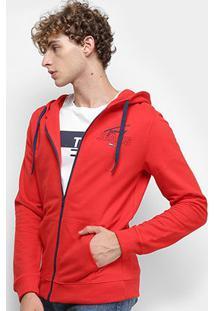 Jaqueta Moletom Tommy Jeans Essential Graphic Zip Thru Masculino - Masculino-Vermelho
