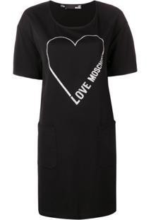 Love Moschino Vestido Com Estampa De Coração - Preto