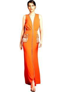 Vestido Izad Izadora Lima Brand Longo Em Crepe Decote Profundo Bordado Coral
