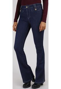 Calça Jeans Feminina Sawary Flare Cintura Alta Azul Escuro