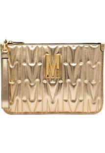 Moschino Clutch De Couro Com Logo - Dourado