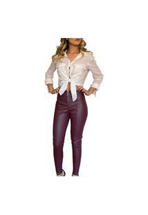 Calça Feminina Cintura Alta Skinny Bengaline Roxo Beringela