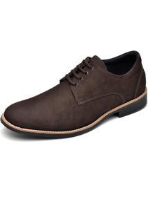 Sapato Couro Dr Shoes Social Pespontos Café