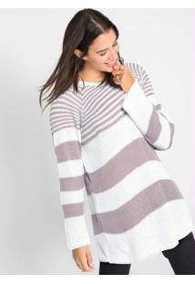 Suéter De Tricô Ponto Trabalhado Listrado Lilás