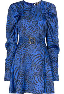 Rotate Vestido Tara Com Estampa - Azul