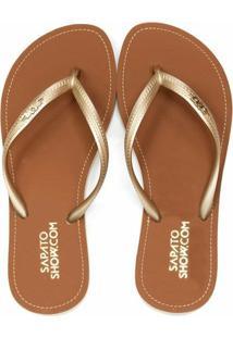 Chinelo Broche Metálico Sapato Show 01801172 - Feminino-Dourado