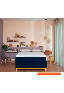 Cama Box Com Colchão Solteiro Guldi Firme I Branco E Azul 88 Cm
