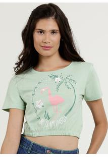 Blusa Feminina Cropped Estampa Flamingo Manga Curta Marisa