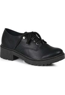 Sapato Oxford Quiz Feminino Reforçado Preto