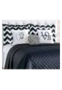Kit Cobre Leito Preto Queen Size Com 8 Peças Porta Travesseiro Chevron E Almofada Nó Cinza