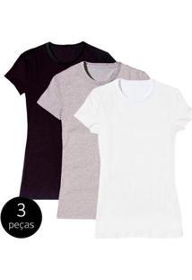 Kit Com 3 Camisetas Baby Look Básica Part.B Gola Redonda Colors Feminina - Feminino-Branco+Preto