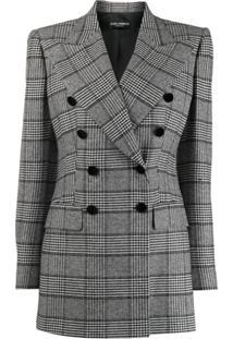 Dolce & Gabbana Casaco Glen Xadrez Com Abotoamento Duplo - Preto