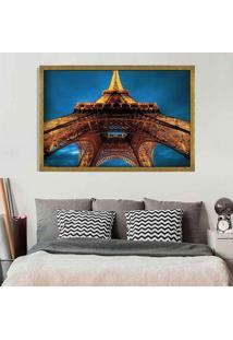 Quadro Love Decor Com Moldura Torre Eiffel La Nuit Dourado Médio