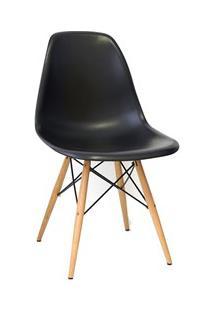 Cadeira Eiffel Charles Eames Preta F01 Com Base De Madeira Dsw - Mpoze