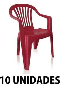 Cadeira De Plastico Poltrona Vinho Empilhavel 10 Unidades