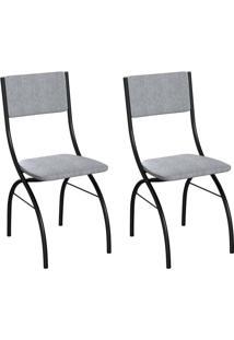 Conjunto Com 2 Cadeiras Dubbo Cinza E Preto