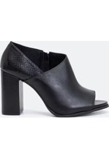 Sapato Feminino Peep Toe Em Couro Satinato