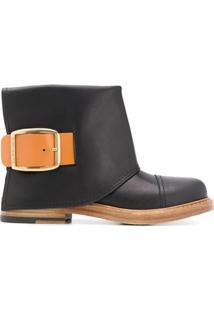 Alexander Mcqueen Ankle Boot De Couro - Preto