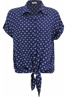 Camisa Intens Manga Curta Viscose Azul