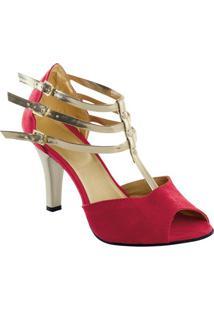 Sandália Vermelha Com Tiras Douradas