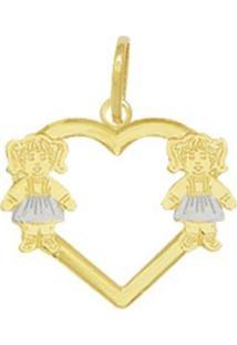 Pingente Prata Coração Vazado 2 Meninas Dourado
