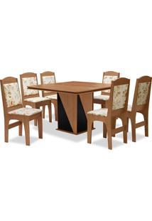Conjunto De Mesa Para Sala De Jantar Com 6 Cadeiras Lisse-Dobuê - Cedro / Preto / Bege Floral
