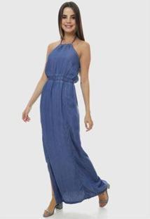 Vestido Longo Jeans Sob Frente Única Com Abertura Lateral Feminino - Feminino